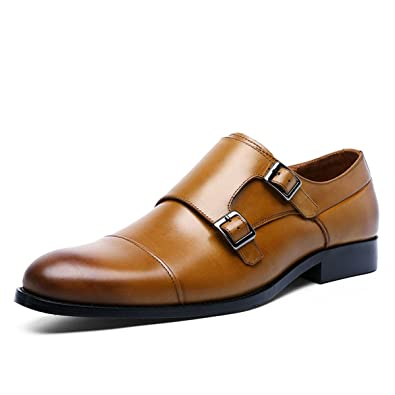 TENGTA Mens Double Monk Strap Cap Toe Dress Shoes Full Grain Leather Oxford  Loafers for Men 20c4c9def82
