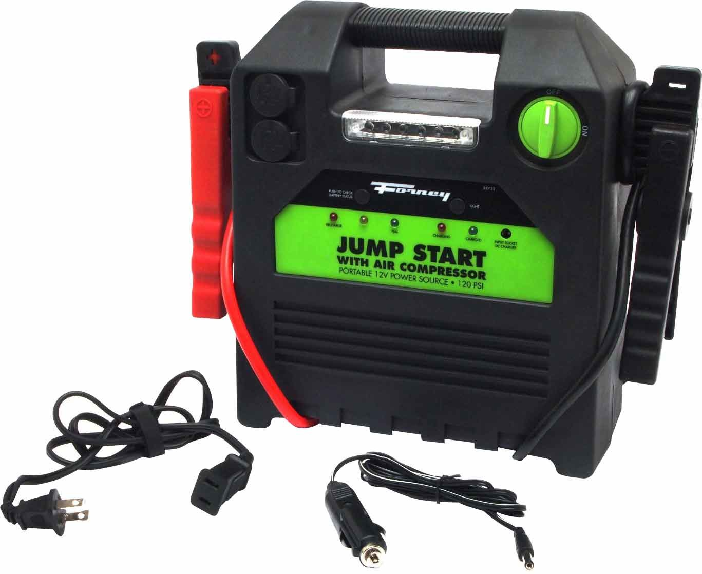 Forney 52732 Battery Booster Pack with 120 PSI Air Compressor, 18-Amp Hour, 12-Volt Jump Start