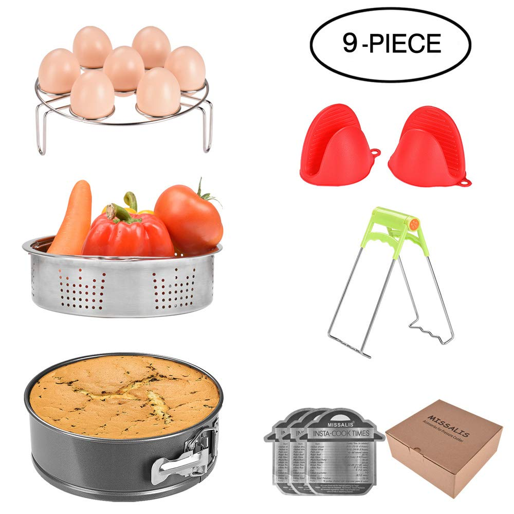 Missalis Instant Pot Accessories Set with Steamer Basket/Egg Steamer Rack/Non-stick Springform Pan/Steaming Stand/Silicone Cooking Pot Mitt/Cheat Sheet, 9 Pcs-Fits 5,6,8Qt Instant pot Pressure Cooker