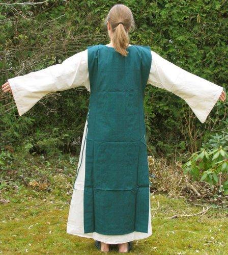 Damenkleid Kleid mit Mehrfarbig XL Baumwoll Skapulier S Mittelalter grün naturbeige YxdPvwv