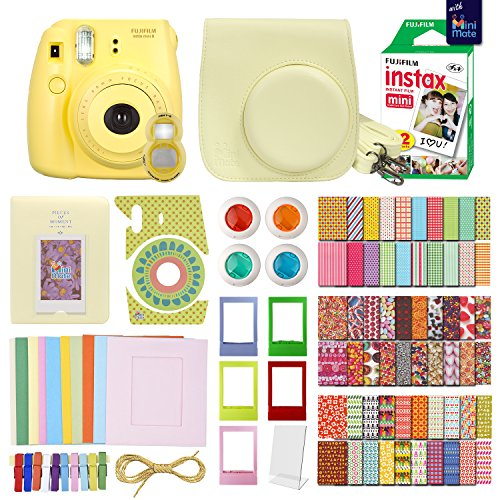(FujiFilm Instax Mini 8 Camera with 20 Instax Film + Accessories KIT for Fujifilm Instax Mini 8 Camera Includes: + Custom Fitted Case + Assorted Sticker, Plastic & Paper Frames)