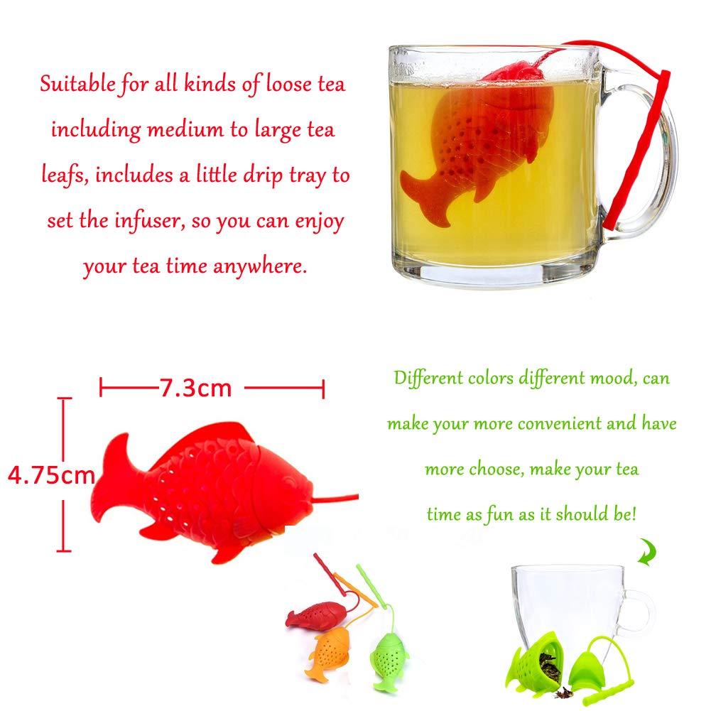 forma de pez y bolsa y 6 colores con filtro para cocina WENTS Infusor de t/é de silicona seguro reutilizable