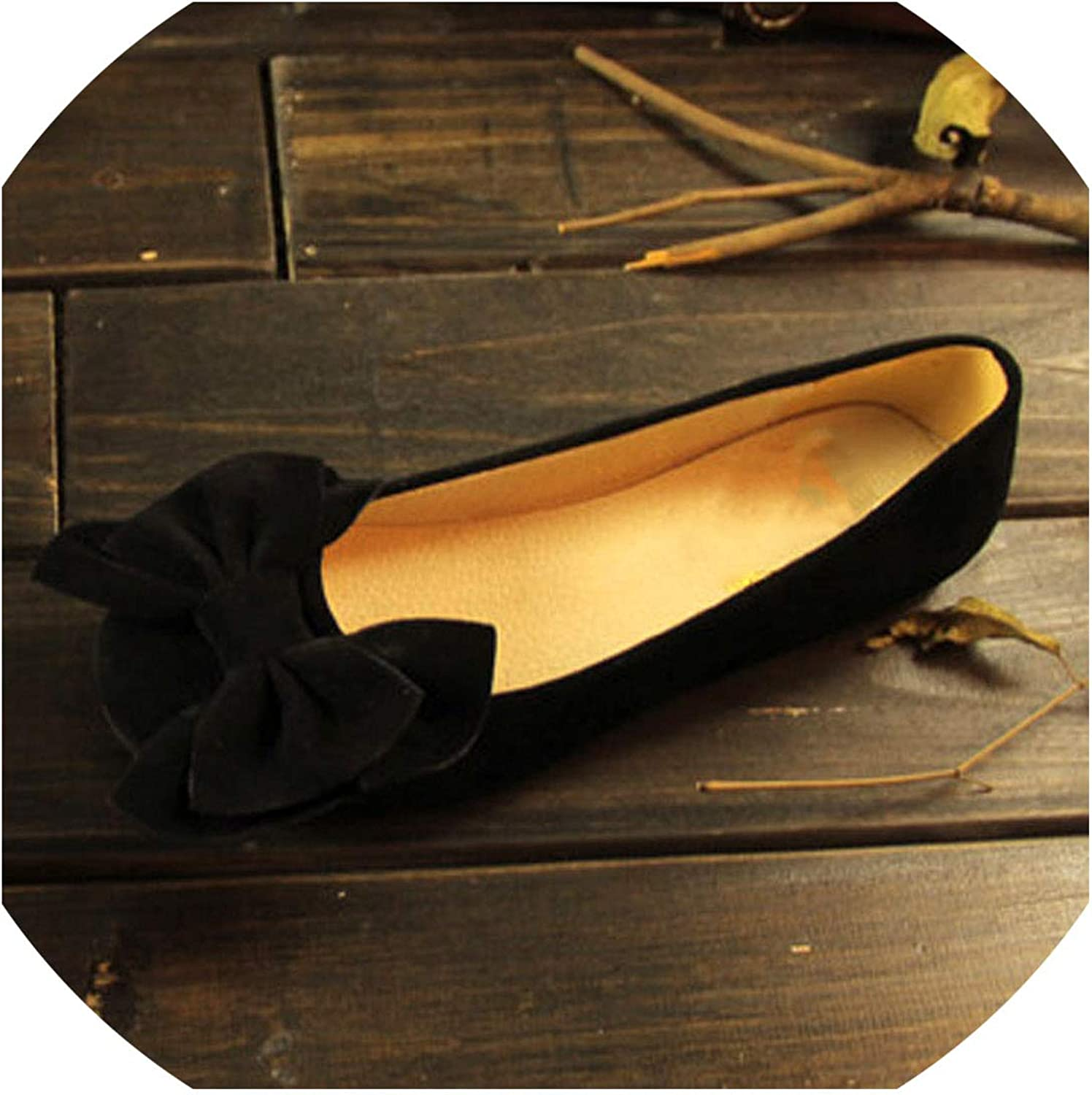 Fashion Bow Shallow Mouth Slip-On Women Flats Vintage Flock Round Toe Ladies Casual Flat Shoes Female Leisure Ballerinas Flats,Black,6