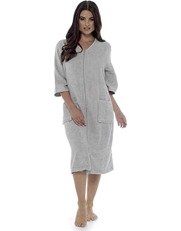 bb39cb89be Towelling Bathrobes 100% Cotton Dressing Gown for Women Button Through or  Zip Up Towel Bath