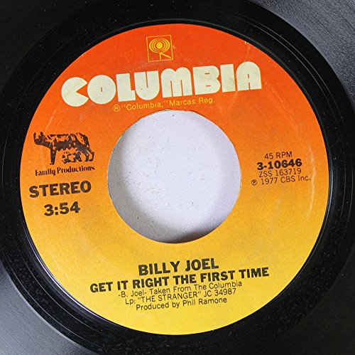 Rpm Way 45 Records (Billy Joel 45 RPM Get it Right the First Time / Just the Way You Are)