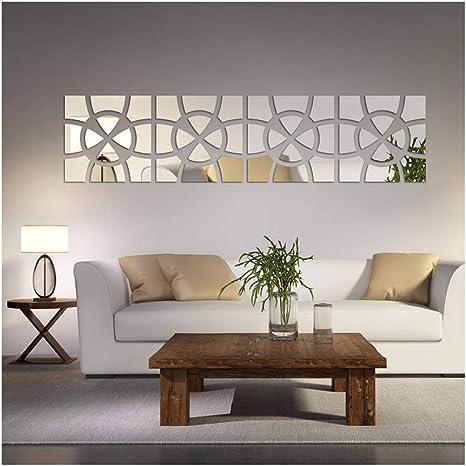 Amazon Com 48pcs Set Geometric Art Mirror Effect 3d Wall Sticker Tv Backdrop Door Decorative Diy Painting Acrylic Sticker Living Room Home Decor Silver 30x120cm Home Kitchen