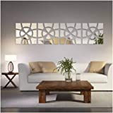 Alrens(TM 48pcs/Set Geometric Art Mirror Effect 3D Wall Sticker TV Backdrop Door Decorative DIY Painting Acrylic Sticker Living Room Home Decor