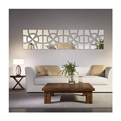 Merveilleux Alrens(TM)48pcs/Set Geometric Art Mirror Effect 3D Wall Sticker TV Backdrop