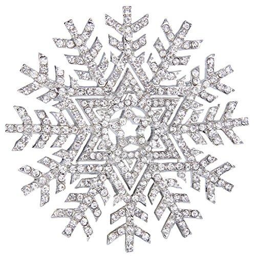 (EVER FAITH Silver-Tone Austrian Crystal Winter Snowflake Flower Star Elegant Brooch Pin Clear)