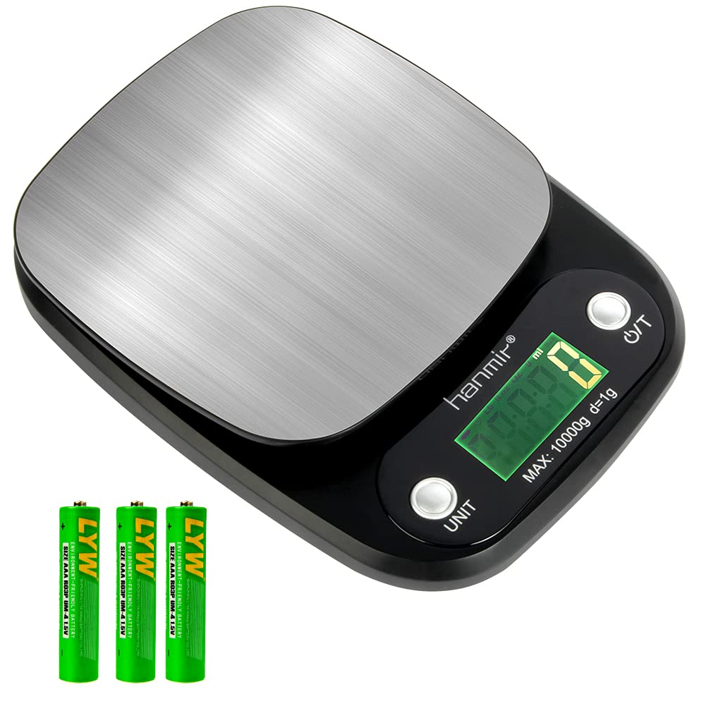 Digital Food Kitchen Scale, 22lb Food Scale Weight Grams and Ounces, Stainless Steel, Multifunctional 1g to 10kg Precise Scale for Cooking and Home