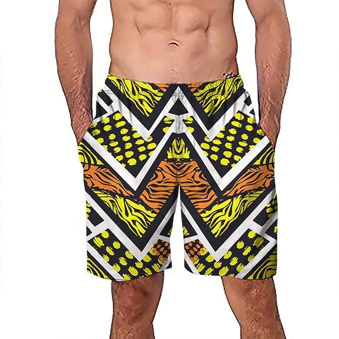 1a29c68f358bc Beew Men's Swimwear Mens Swim Trunks 3D Graffiti Printed Striped Printed  Quick Dry Swimming Shorts (