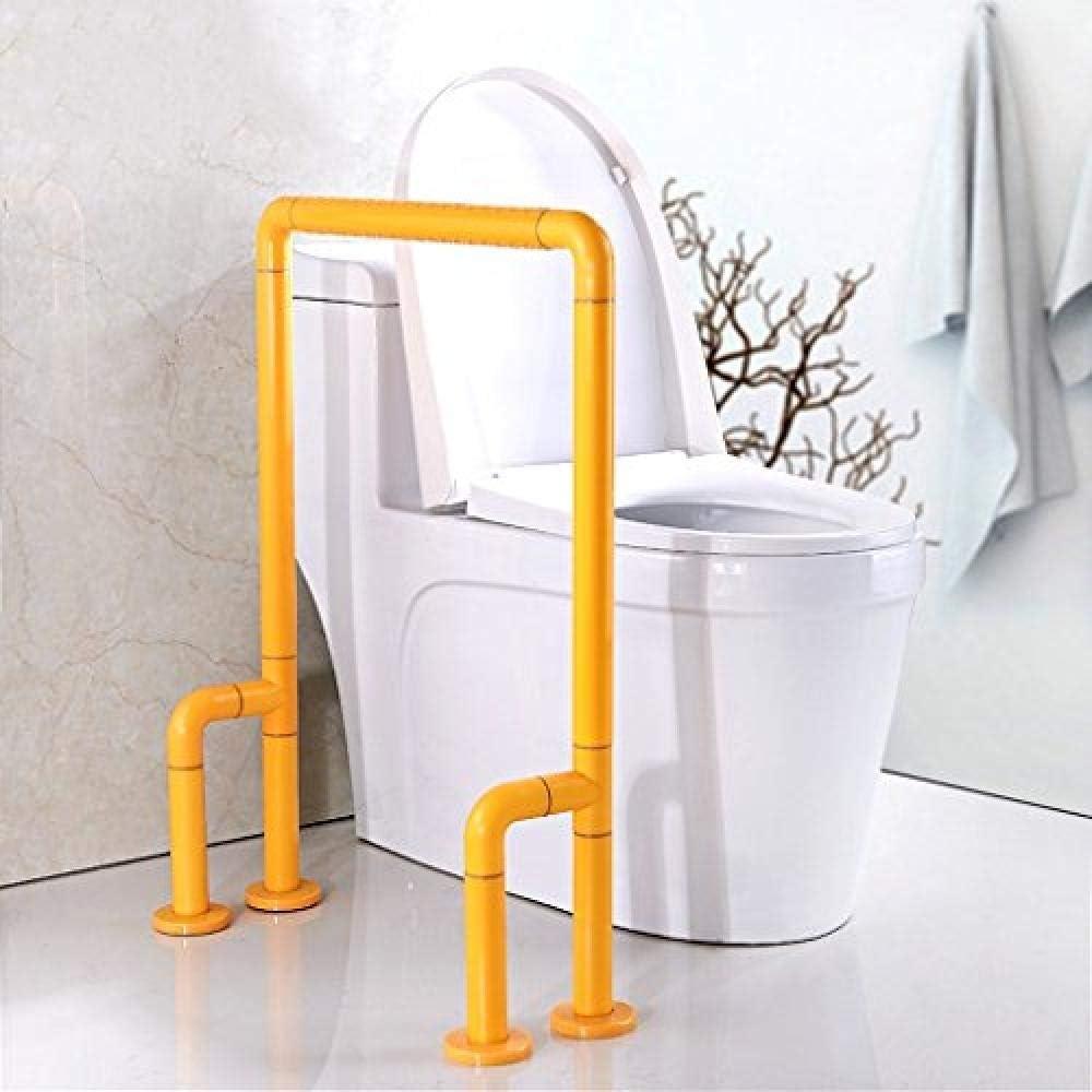 Pasamanos antideslizante Pasamanos hecho de manija de nylon Hecho de acero inoxidable Para inodoro del baño accesible para sillas de ruedas - Función de visión nocturna 54 cm * 72 cm Amarillo