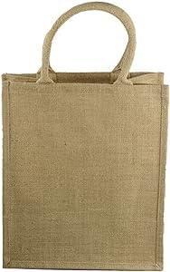 Natural Jute Burlap Wine Gift Tote Bag Wine Carrier Holder w/Divider (6 Bottle Wine Carrier)