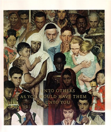 Norman Rockwell The Golden Rule 1961 Art Print - 8 in x 9 in - Unmatted, Unframed