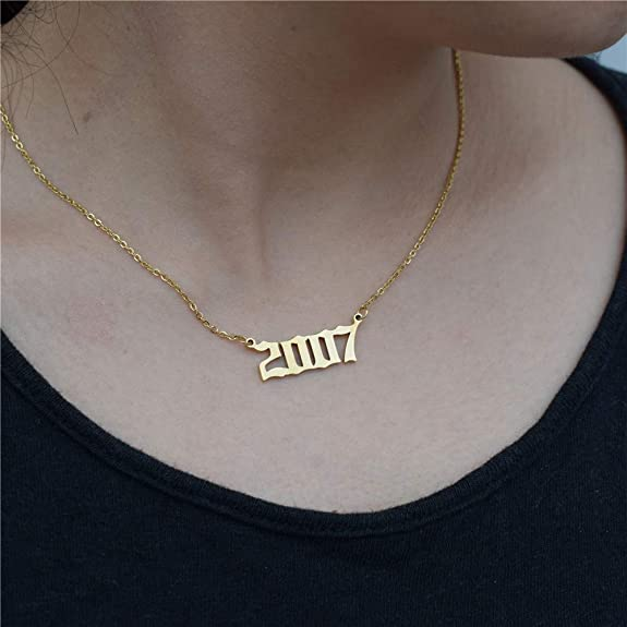 Old English Year Necklace 24k Gold Plated Necklace Pendant personalized jewelery birthday gift 13x28mm GLD-454 Necklace Pendant