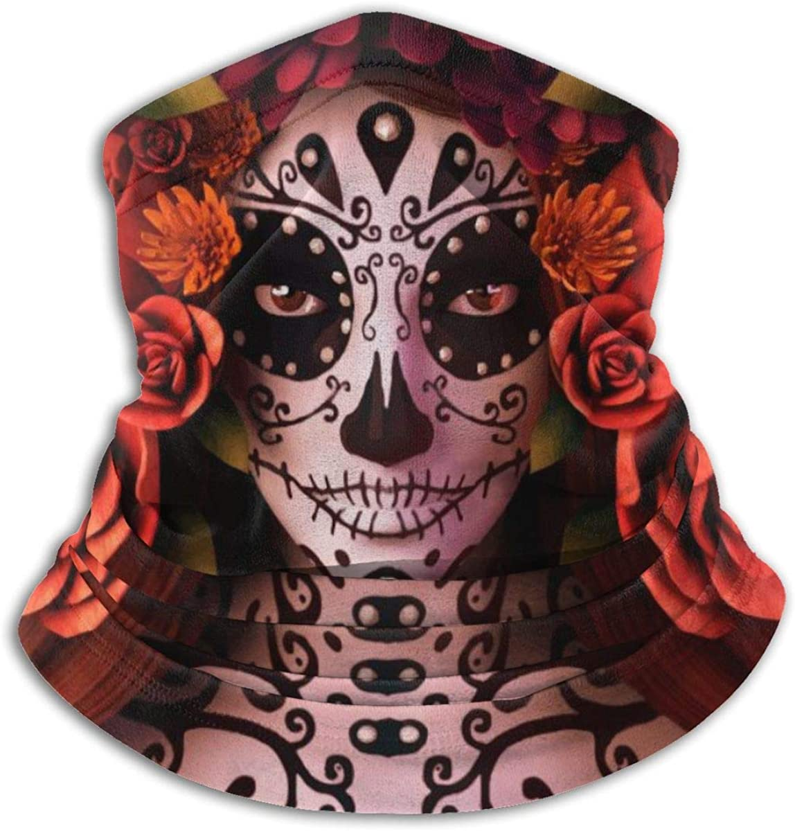 Unisex Bandanas Face Mask Sugar Skulls and Roses Day of Dead Halloween Neck Gaiter Balaclava Sports Headwear Sun Uv Dust Half Scarf Mouth Cover for Women Men Cycling Rave Fishing Outdoor Festivals