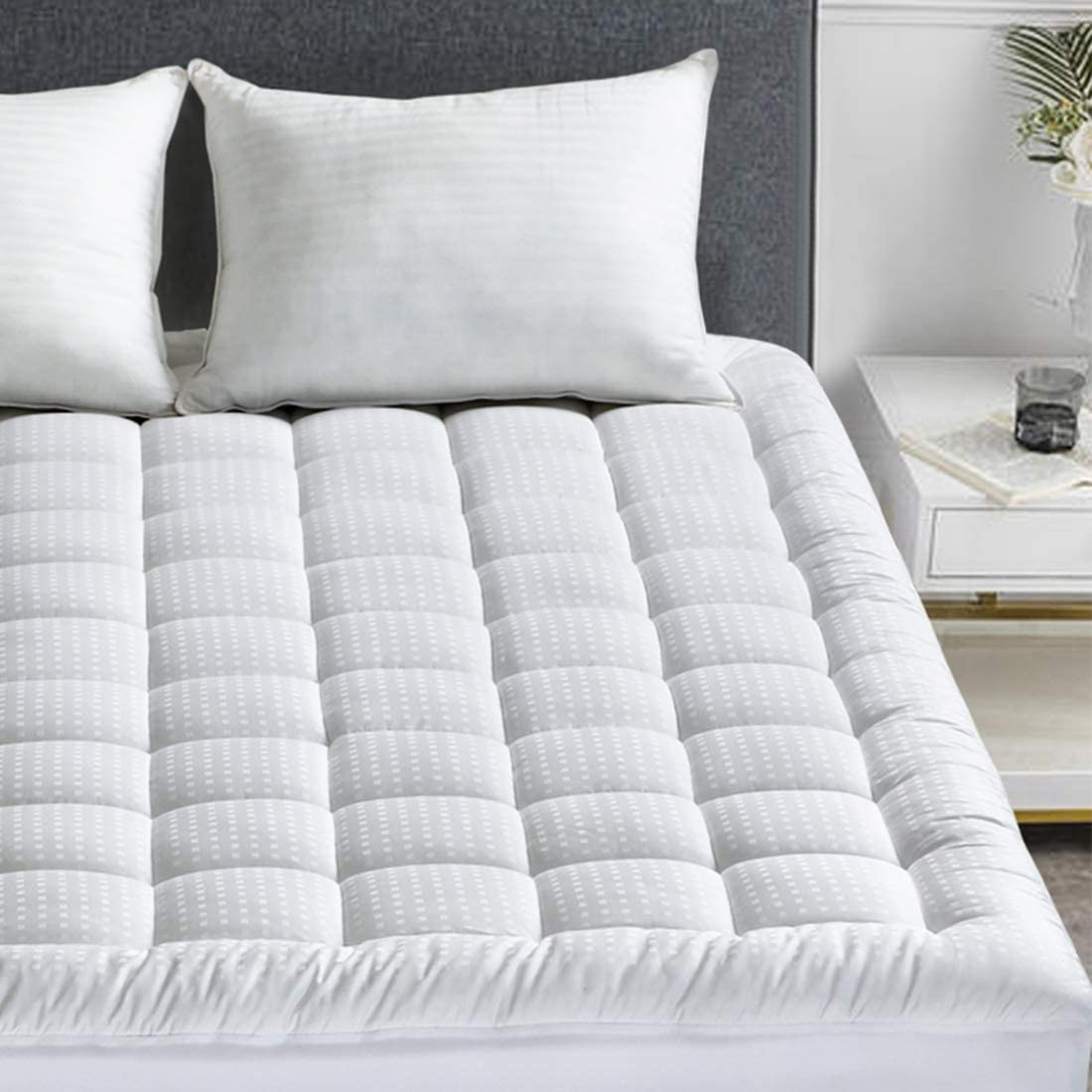 """HARNY Mattress Pad Cover Cal King Size 400TC Cotton Pillow Top Cooling Breathable Hypoallergenic Mattress Topper Quilted Fitted with 8-21/""""Deep Pocket"""