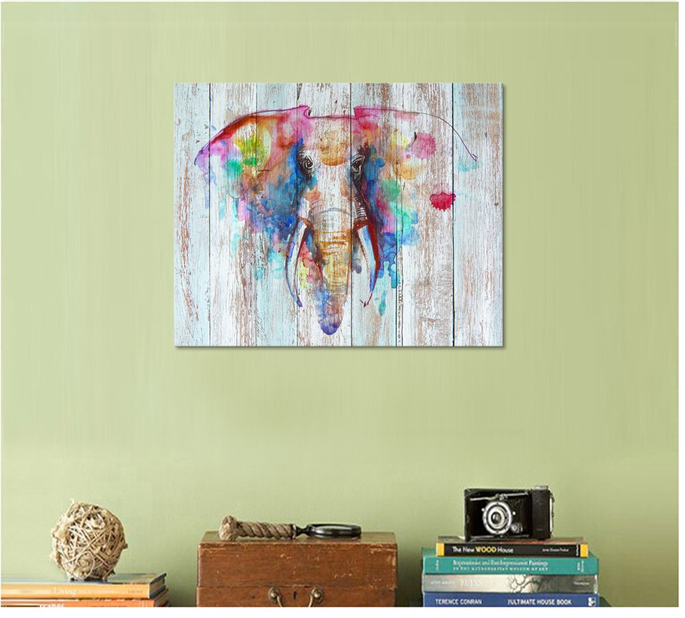 Amazon.com: Visual Art Decor Retro Animals Watercolor Elephant ...