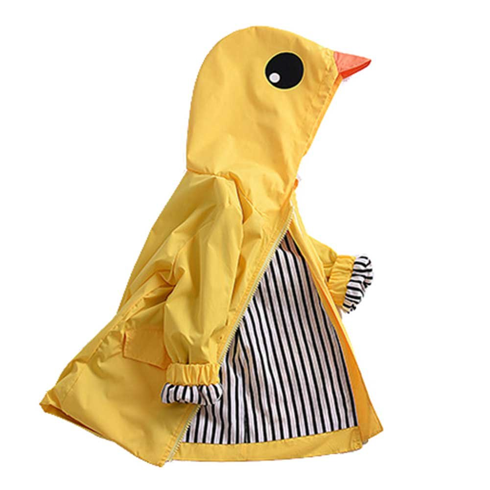 SLLSKY Unisex Kids Duck Raincoat Cute Cartoon Jacket Hooded Coat Zipper Outwear