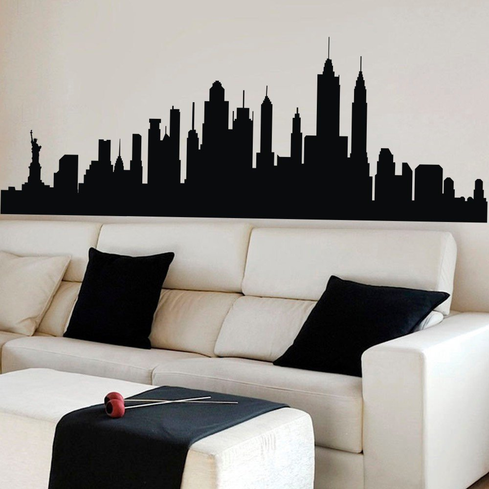 Amazon com mairgwall new york city skyline silhouette wall decal custom vinyl art stickers x largeblack home kitchen