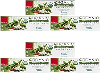 product image for RADIUS USDA Organic Toothpaste - 6 Pack in Matcha Mint, Non Toxic, Designed to Improve Gum Health and Reduce the Risk of Gum Disease