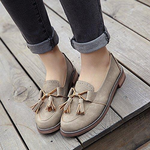 T-july Zapatos De Moda Para Mujer Oxfords - Retro Slip On Low Heel Punta Redonda Borla Zapatos Casuales Camel