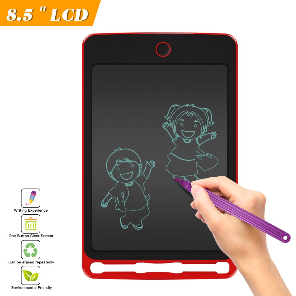 LCD Writing Tablet-8.5 In Writing Graphics, Drawing & Painting Board -Can Be Used As Office Whiteboard Bulletin Board And Gifts For Kids(Can be Repeated Use of more than 50,000 times)-(Red)