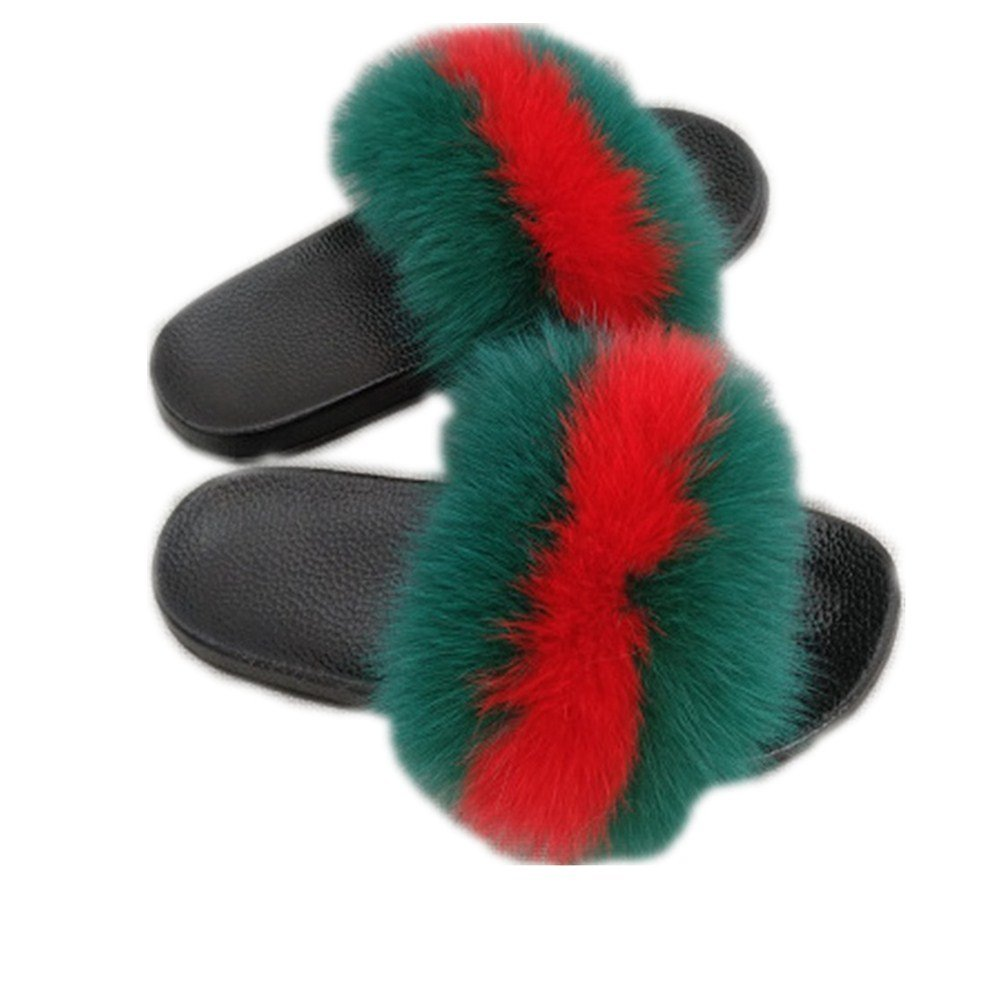 Women Real Fox Fur Feather Vegan Leather Open Toe Single Strap Slip On Sandals Multicolor (9, Green-red)