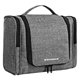 SONGMICS Travel Hanging Toiletry Bag, Large Makeup Organizer with 9 Storage Compartments for Men and Women, Wash and Gym Shaving Kit in Bathroom, Gray, UBTB01GY