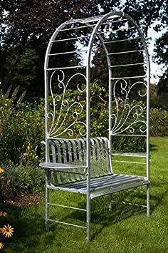 Rose arco con banco jardín banco de hierro metal banco pérgola banco de cenador: Amazon.es: Jardín