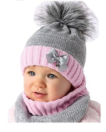 471577daed6b2f AJS Baby Winter Mütze Mädchen Babymütze Lopp Größe 44/46 Grau/Rosa 6 bis