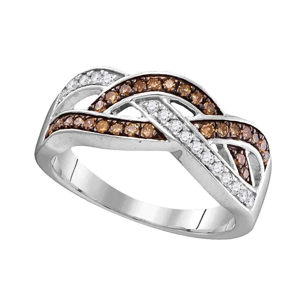 10K White Gold Brandy Diamond Chocolate Brown Wave Crossover Ring 1/3 Ctw.