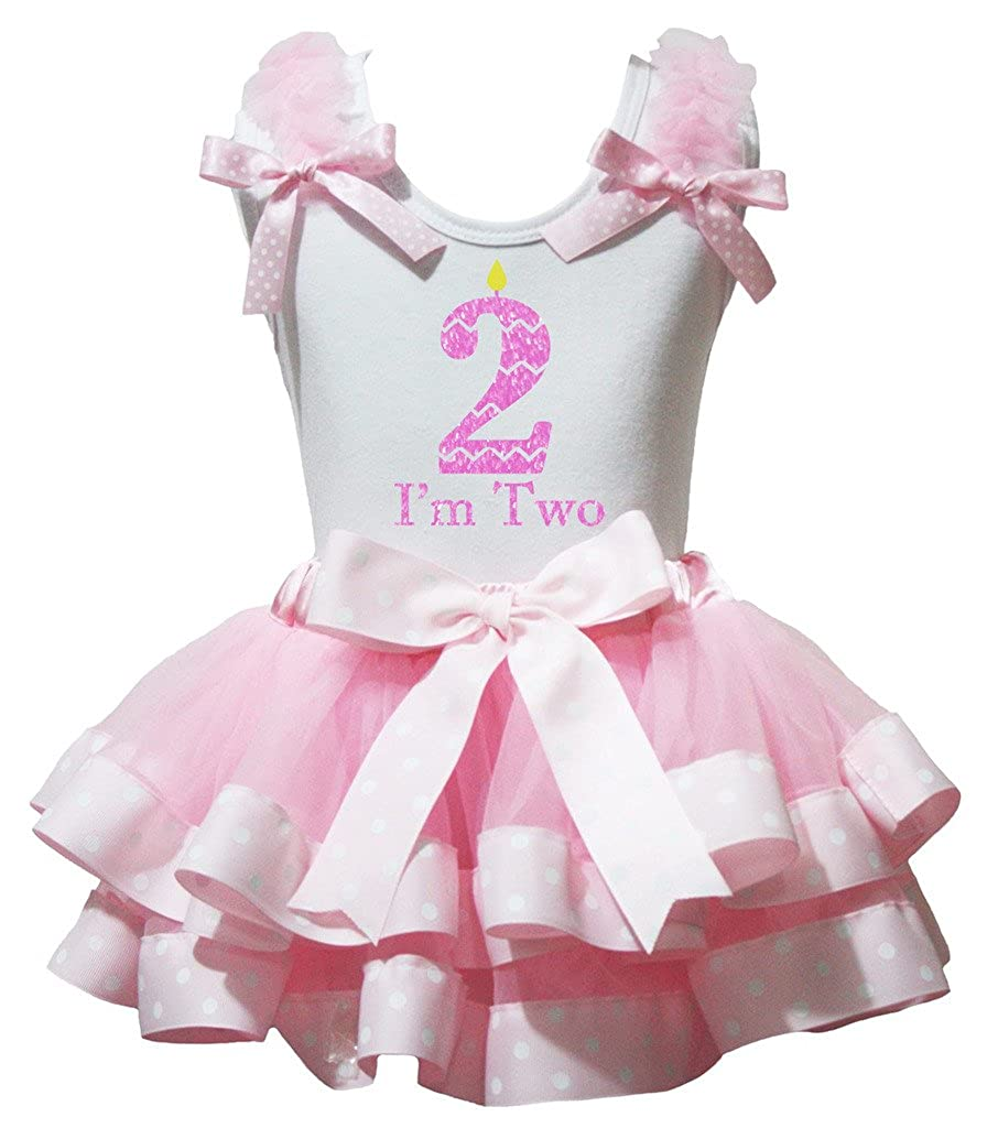 Petitebella Im Two White Shirt Polka Dots Pink Petal Skirt Set Nb-8y