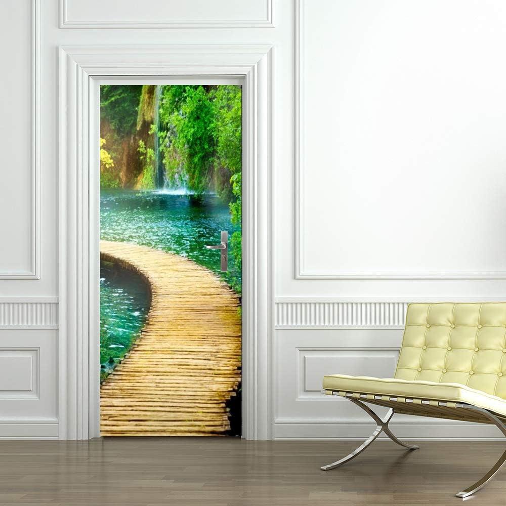 LLWYH Stickers Porte Poster Pont deau en Bois De Lac Paysage PVC Art De Porte D/écoration Maison
