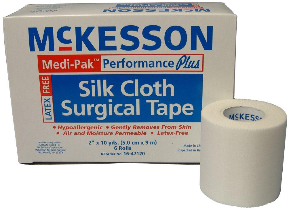 McKesson 16-47120 Medi-Pak Performance Plus Silk Cloth Surgical Tape, 2'' Width, 10 yd. Length, 2'' Width, 360'' Length (Pack of 72)