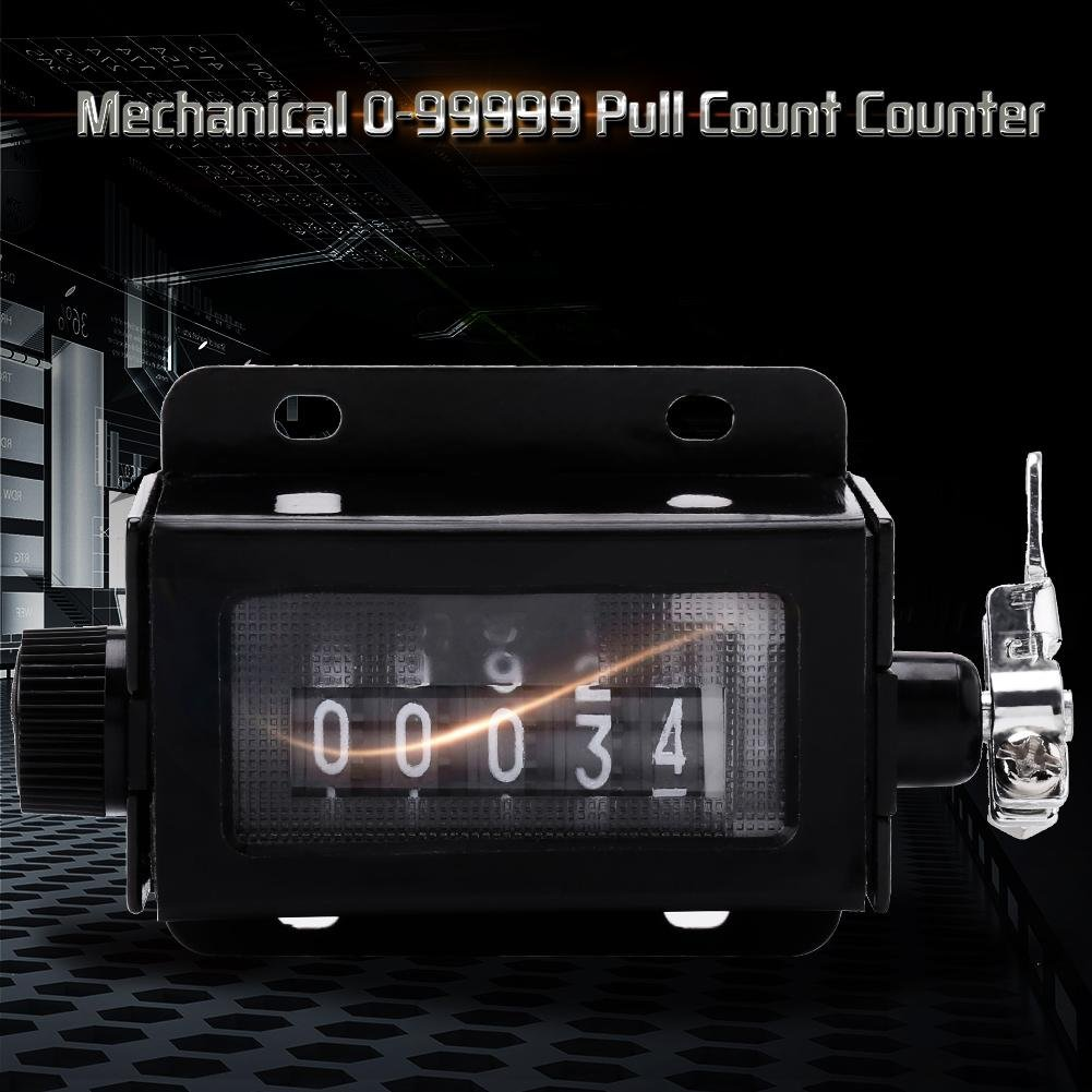 Akozon Digit Counter Mechanical 5 Digit 0-99999 Pull Count Counter Rotary Knob Resettable Black with Spring