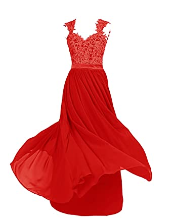 Dressystar Sexy Open Back Chiffon And Lace Prom Bridesmaid Evening Prom Dresses Size 24W Red