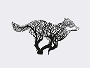 Ditcowest Metal Art Forestry Wolf, Metal Wall Hanging, Metal Wolf Made of Trees, Housewarming Metal Gift, Wolf Special Designs, Metal Art Wolf Animal Decorations, Running Wolf Metal Design Wall Hangs