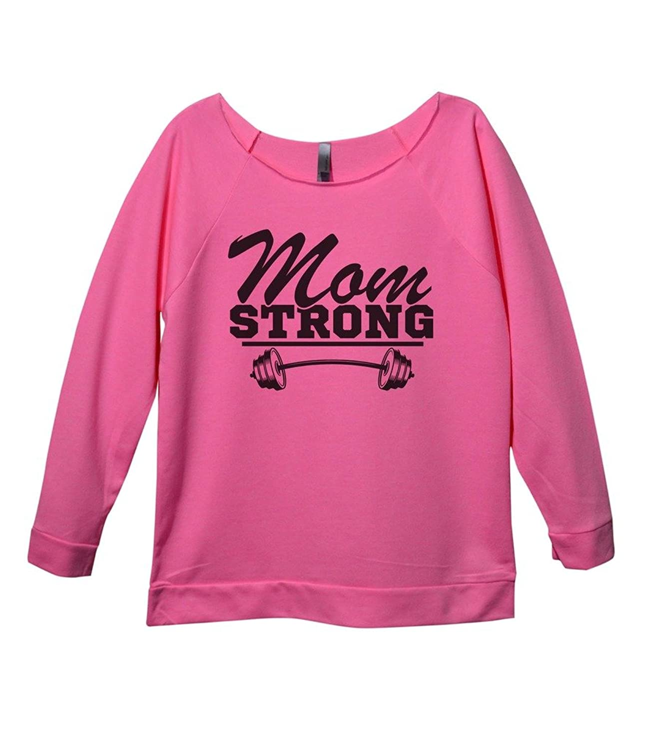 "Trendy Mom Raglan 3/4 Sleeve Fashion Shirts ""Mom Strong"" Royaltee Workout Sweatshirts"