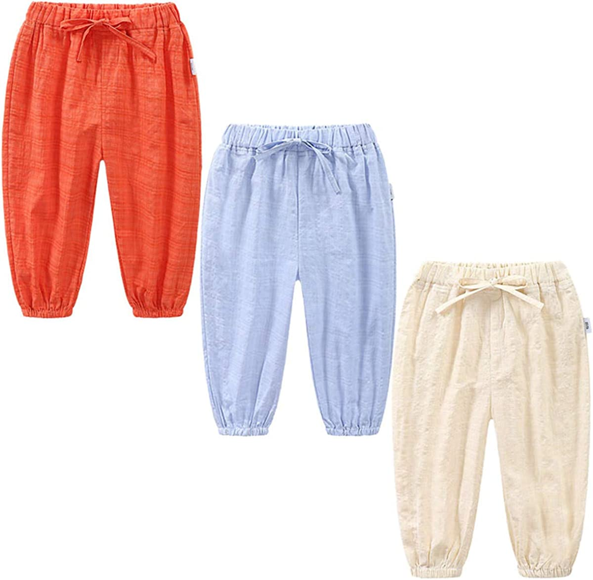 3 Pack of Kinder M/ädchen Jungen Sommer Baumwoll Drucken Leinenhose Pumphose Elastische L/ässige Anti-Moskito Jogginghose L/ässige Pants Hose