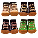 Baby Essentials Newborn Baby Socks Desert Hiking Boot Socks For Boys 4 Pack 0-6 Months