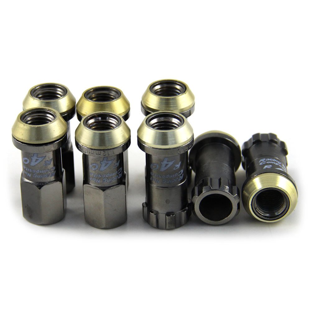 Meiyiu Iron Drive Lug Nuts Wheel Nuts and 2 Anti-Theft Screw R40 1.25 SPEC Titanium Color 20Pcs