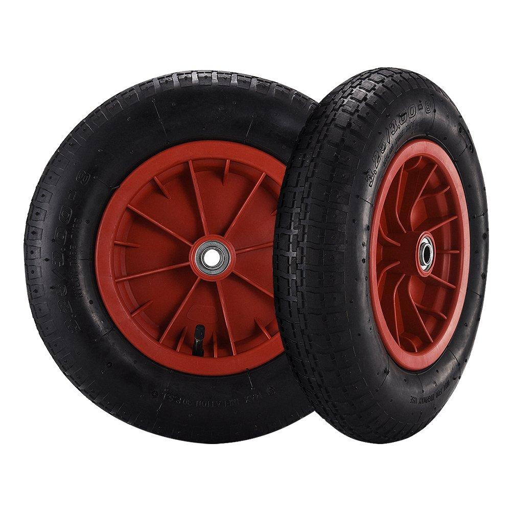 2 x Luftrad Ø 365 mm 3.25/3.00-8 Ersatzrad Reifen Rad für Sackkarre Schubkarren Bollerwagen Platane