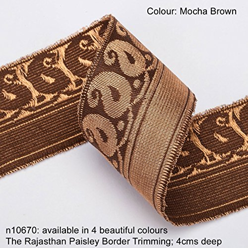 (Neotrims Paisley Antique Old Gold Metallic Base Ribbon Trim Decoration; Traditional 9 meters Reel for Sari Border. Also for Salwar Kameez, For Crafts and Home Interior Décor. 4cms Deep Border, Upright Decorative Paisley design in Vintage Old Gold Metallic, set on Solid Colours of Red, Mocha Brown, Turquoise and Cerise Pink. The Rajasthan Paisley Design trim. Buy by the 3 meter or 1 reel of 9 meters Sari length. Bargain Price for 1 Reel!)