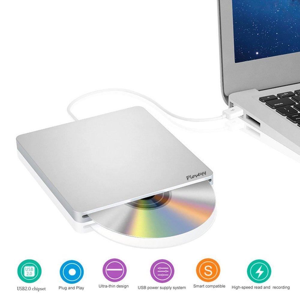 USB 2.0 External DVD Drive, Ultra Slim Portable CD DVD-RW / CD-RW Rewriter Burner super Drive For Mac, Macbook Pro Air iMAC , Laptops, Desktops, Notebooks Silvery