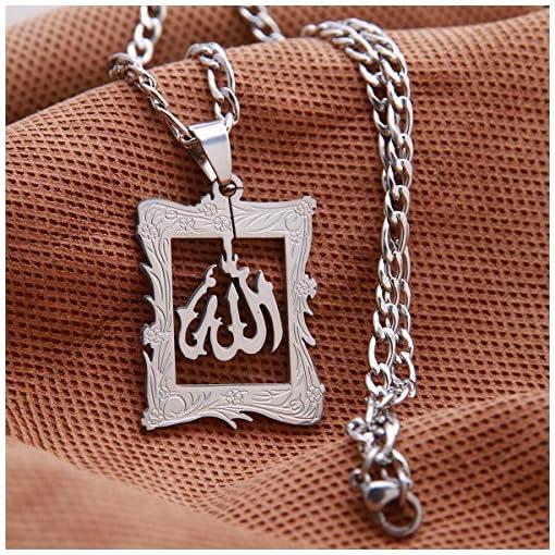 3855027516b2c Silver Pt Allah Necklace Islamic Charm Arabic Gift Islam Muslim Quran God  Chain