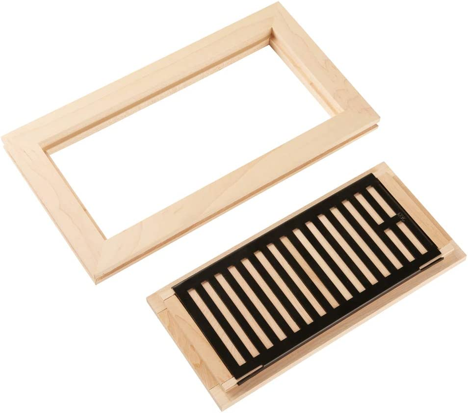 Homewell 4 X 10 Solid Maple Wood Vent Cover Floor Register With Damper Flush Mount With Frame Unfinished Building Supplies Amazon Canada