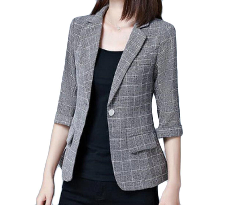 BU2H Womens Classic 3/4 Sleeve Plaid One-Button Slim Fit Pocket Blazer Jackets