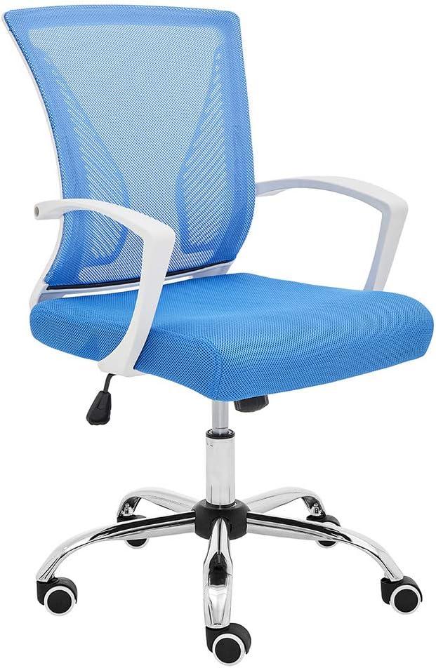 Modern Home Zuna Mid-Back Office Task Chair - Ergonomic Back Supporting Mesh Back Desk Chair (White/Blue)