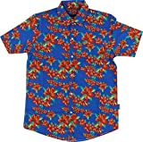 Grizzly Tropical High Button Up Xxlarge Blue Short Sleeve